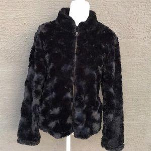 Like New Dylan Black Faux Fur Zippered Jacket sz M